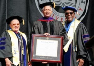 Rep. Johnson (GA-04) receives an honorary Doctor of Laws degree from his alma mater Clark Atlanta University. From left: Bettye Clark, Interim Provost and Vice President for AcademicAffairs, Rep. Johnson, and CAU President Ronald Johnson.