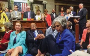 Congressman Hank Johnson and fellow Democrats stage a sit-in on House floor to push Republicans to address gun violence Photo Source: Congressman Hank Johnson's public Facebook page