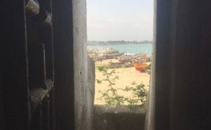 The view out of the door of no return in Elmina.