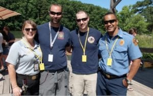 Left to right: Capt. Kelly Sizemore, Capt. Shawn Staton, firefighter Nicholas Ribal and Capt. Jovan Carter pose for a photograph at Camp OO-U-La.