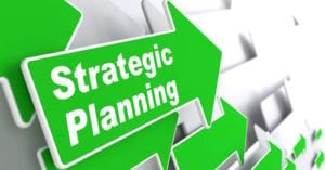 "Strategic Planning - Business Concept. Green Arrow with ""Strategic Planning"" Slogan on a Grey Background. 3D Render."
