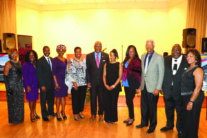L-R: Mistress of Ceremonies Heidi Fuller, State Rep. Dee Dawkins-Haigler; DeKalb ICEO Lee May, Lithonia Mayor Deborah Jackson, State Rep. Doreen Carter, Dr. Jabari Simama, PhD candidate Whitney Ingram, DeKalb Commissioner Mereda Davis Johnson, Congressman Hank Johnson, GLCC Vice President Gregory Williams and GLCC Gala Committee Chair Bonnie Haynes.