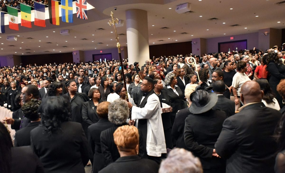 JANUARY 25, 2017 LITHONIA Mourners fill the sanctuary as the processional comes into the church during the Homegoing services for Bishop Eddie Long, senior pastor, at New Birth Missionary Baptist Church, Wednesday, January 25, 2017. Bishop Long died January 15th, after a long-time fight with cancer. He was 63 years old. Hyosub Shin/AJC