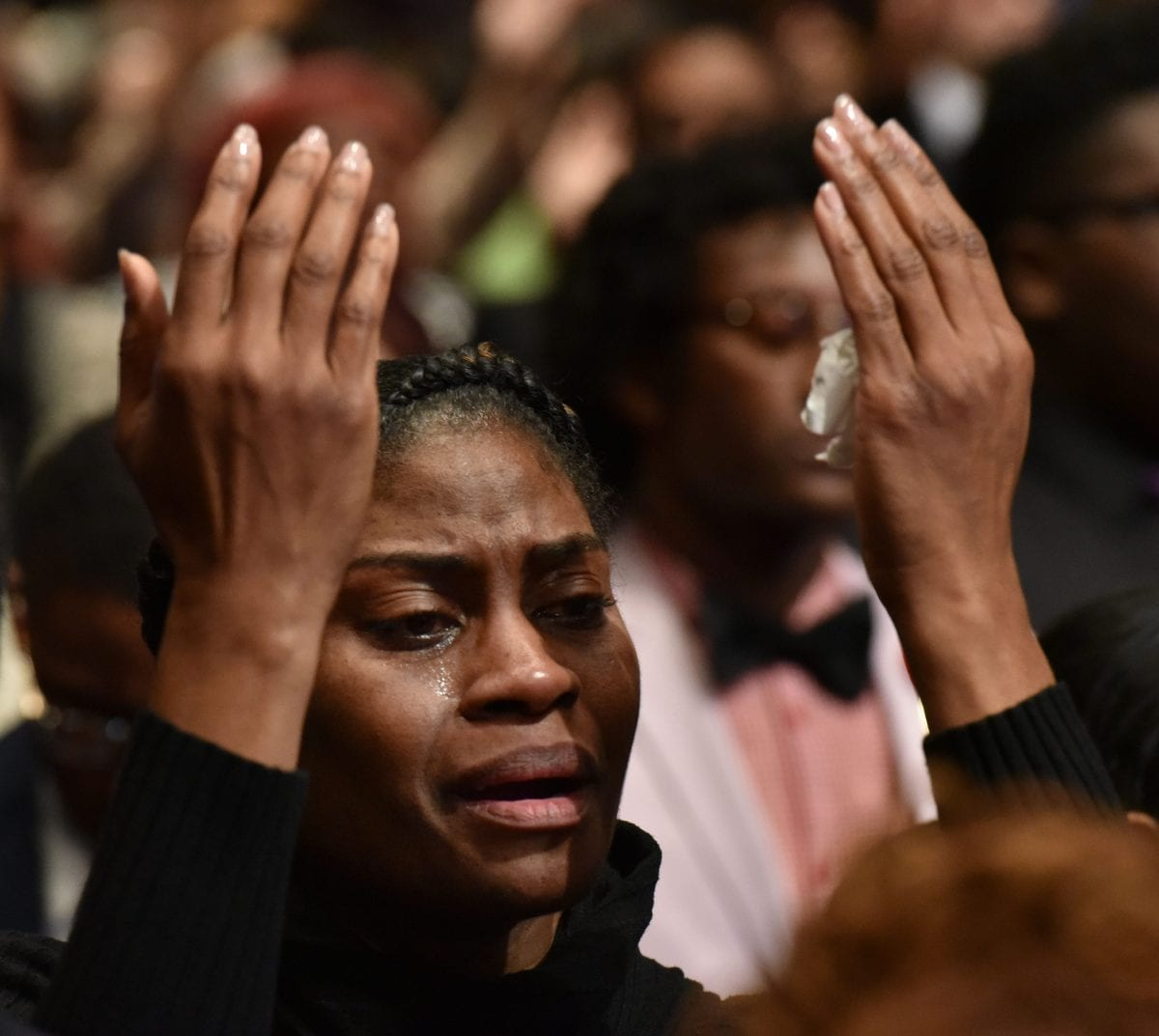JANUARY 25, 2017 LITHONIA Mourners fill the sanctuary during the Homegoing services for Bishop Eddie Long, senior pastor, at New Birth Missionary Baptist Church, Wednesday, January 25, 2017. Bishop Long died January 15th, after a long-time fight with cancer. He was 63 years old. Hyosub Shin/AJC