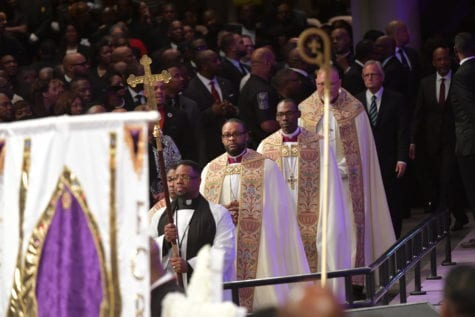 JANUARY 25, 2017 LITHONIA The processional enters the sanctuary during the Home-going services for Bishop Eddie Long, senior pastor, at New Birth Missionary Baptist Church, Wednesday, January 25, 2017. Bishop Long died January 15th, after a long-time fight with cancer. He was 63 years old. Hyosub Shin/AJC