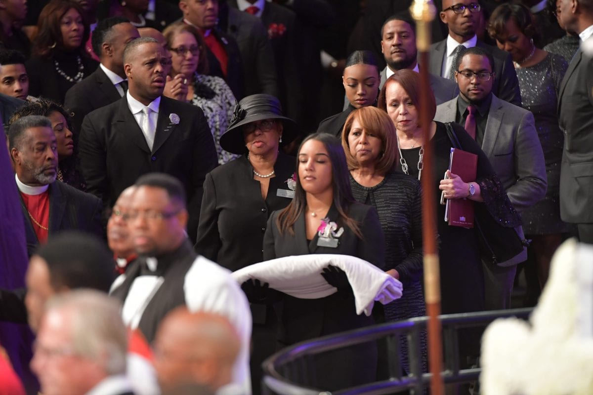 JANUARY 25, 2017 LITHONIA Family members including wife, Vanessa, daughter Taylor, sons Eric, Edward and Jared, enter the sanctuary during the Home-going services for Bishop Eddie Long, senior pastor, at New Birth Missionary Baptist Church, Wednesday, January 25, 2017. Bishop Long died January 15th, after a long-time fight with cancer. He was 63 years old. Hyosub Shin/AJC