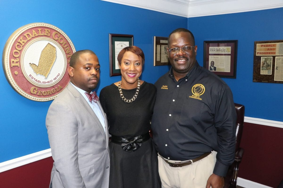 Rockdale Chairman Oz Nesbitt (far right) and Chief of Staff Corey Hambrick and Executive Assistant Claire Harris | Photo By Glenn Morgan for On Common Ground News