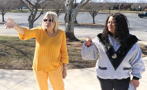 L-R: Cheryl Board and Josie Dean map out plans for the MLK event that will be held outside at the Rockdale County government annex at 1400 Parker Road in Conyers.