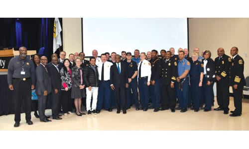 """DeKalb County CEO Michael Thurmond and the Board of Commissioners recognize DeKalb firefighters during the """"DeKalb County Fire Rescue Day"""" proclamation presentation. Photo provided"""