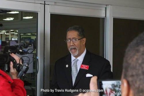 City of Stonecrest Mayor Jason Lary addressed members of the media outside of the Sam's Club.