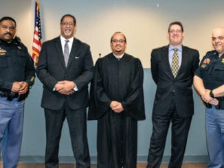 Deputy Adrian Pascoe, Mayor Jason Lary, Judge Michael Sheridan, City Solicitor Lenny Felgin and Sergeant Nick Mendez. Photo provided