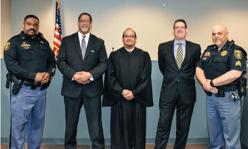 Deputy Adrian Pascoe, Mayor Jason Lary, Judge Michael Sheridan, City Solicitor Lenny Felgin and Sergeant Nick Mendez. Photo provided