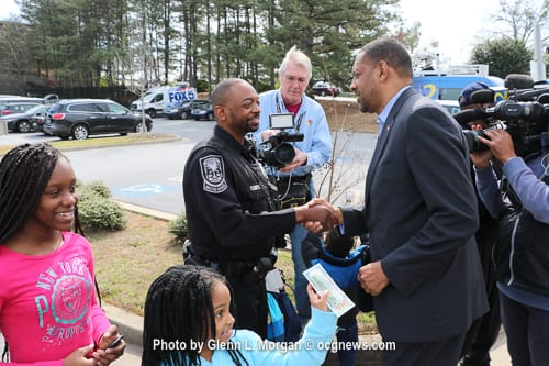 State Rep. Vernon Jones said he was happy to make a donation to Officer Williams and thanked him for his service.