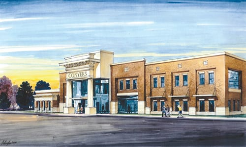 A rendering of Conyers Police Department and new City Hall.