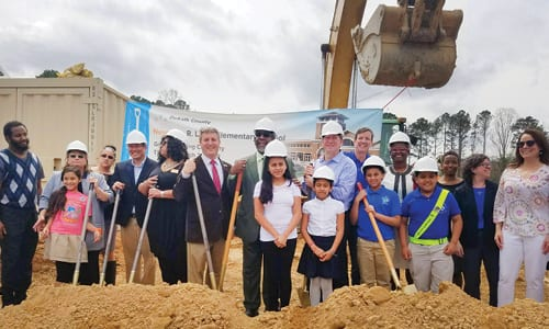 Groundbreaking at the future site of John R. Lewis Elementary School. Photo via City of Brookhaven Twitter @BrookhavenGaGov