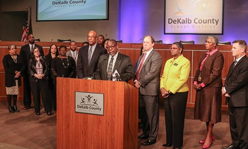 DeKalb County School District Superintendent Dr. R. Stephen Green, along with other district officials, held a press conference addressing the absence of bus drivers on April 19. Photo by Travis Hudgons