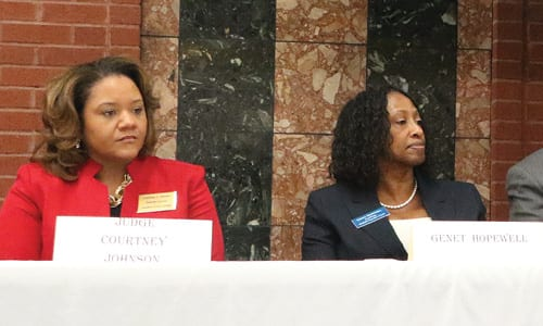 L-R: Judge Courtney Johnson and her opponent Attorney Genet Hopewell at a candidate forum. Photo by Glenn L. Morgan