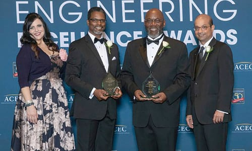 CERM is presented with the ACEC 2018 National Recognition Award during the Engineering Excellence Awards Gala in April in Washington, D.C. Pictured from left to right: Judy Hricak, Engineering Excellence Award Committee Chair; Kenneth Fluker, CERM's Business Group Manager and Principal Engineer; Albert G. Edwards, CERM's Founder and Managing Director; and Manish Kothari, ACEC Chairman Elect.