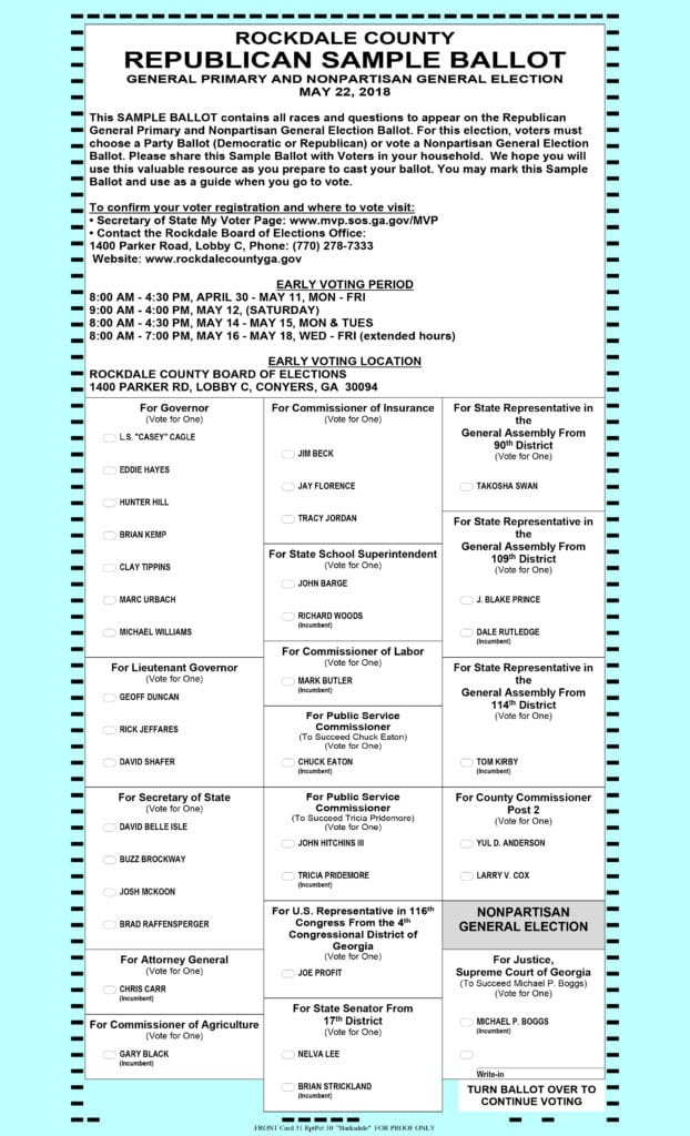 Rockdale County sample ballot - General Primary Election ...
