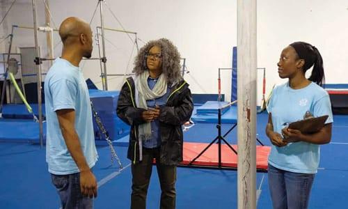 Gavilan and Shadae Crawford had no idea they were talking to Olympic gold medalist gymnast Gabby Douglas. Photo via Facebook