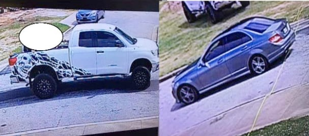 Police are searching for this white Toyota Tundra, which was carjacked from a construction worker, and the gray Mercedes Benz in which three suspects were riding.