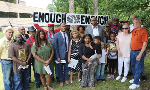 A news conference to address the deaths of Shali Tilson and Jamie K. Henry while in Rockdale County Jail was held outside of the Rockdale County Sheriff's Office on May 31. Photo by Glenn L. Morgan