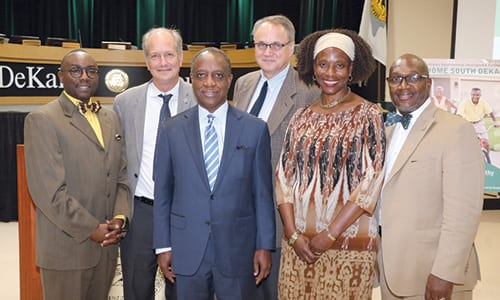 Pictured L-R: Commissioner Larry Johnson, ANDP President and CEO John O'Callaghan, DeKalb CEO Michael Thurmond, Commissioner Jeff Rader, Lithonia Mayor Deborah Jackson and Commissioner Gregory Adams. Photo by Glenn L. Morgan