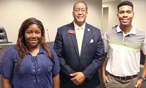 L-R: Courtney McGinty, Stonecrest Mayor Jason Lary and Kolby Terrelonge. Photo by Glenn L. Morgan/OCGNews