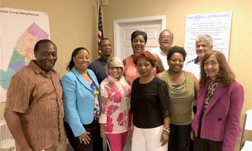 Front L-R: Stan Williams, Democratic Party Committee Chair for Rockdale County, Acting Rockdale Party Chair Janice Morris, Cheryl Miles Board,  Post Holder Rhonda Taylor, Keisha Cooper and State Rep. Pam Stephenson. Back Row L-R: Bob Nesbitt, Phyllis Hatcher, Tommy Plummer and Muddessar Ahmad.