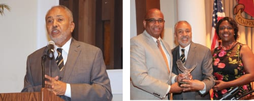 "Lecester L. ""Bill"" Allen was presented the Trailblazer of the Year Award by State Senator Lester. G. Jackson, III, GLBC chairman, and State Senator Tonya P. Anderson. State Sen. Donzella James (not pictured) brought a special message during the Leroy Johnson Civil Rights Dinner.  Photos by Glenn L. Morgan"