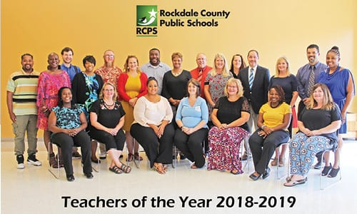Back Row (left to right): Alonza Holden – Peek's Chapel Elementary; Betty Ann Conover – Conyers Middle; Adam Raymond – Rockdale Magnet School for Science and Technology; Audrey Dallas – Salem High; Scott Witt – Alpha Academy; Jessica Bailey – Hightower Trail Elementary; Darius Freeman – Heritage High; Dawn Stocks-Martin – Barksdale Elementary; Reese Fowler – Open Campus; Lisa Dyer – Lorraine Elementary; Debbie Charlesworth – Memorial Middle; Kevin Smith – Edwards Middle; Katie O'Loughlin – J.H. House Elementary; Carlos Hernandez – Gen. Ray Davis Middle, Shalaiwah Neil – Sims Elementary. Front, seated (left to right:) Tamala Findley – Flat Shoals Elementary; Nan Reilly – Pine Street Elementary; Samantha Mickens – C.J. Hicks Elementary; Kimberly Rawhoof – Shoal Creek Elementary; Amy Baxter – Rockdale County High; Jemica Brown – Honey Creek Elementary; Liz McGowan – Rockdale Career Academy.