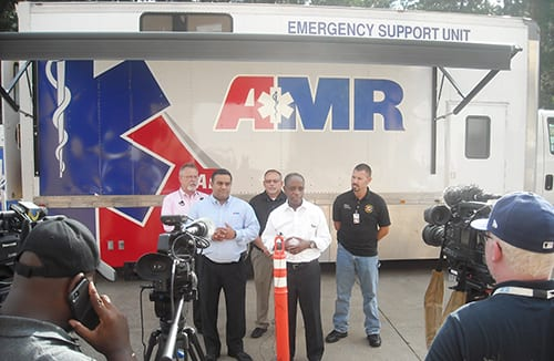 DeKalb CEO Michael Thurmond and AMR officials hold news conference to discuss emergency plans.