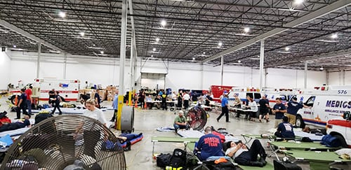 AMR teams set up at command station in Stone Mountain