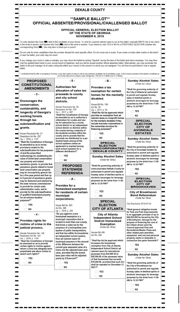 Fourth image of Sample Ballots For Nov 6 General Election with DeKalb County Sample Ballot – General Election – Nov 6 ...