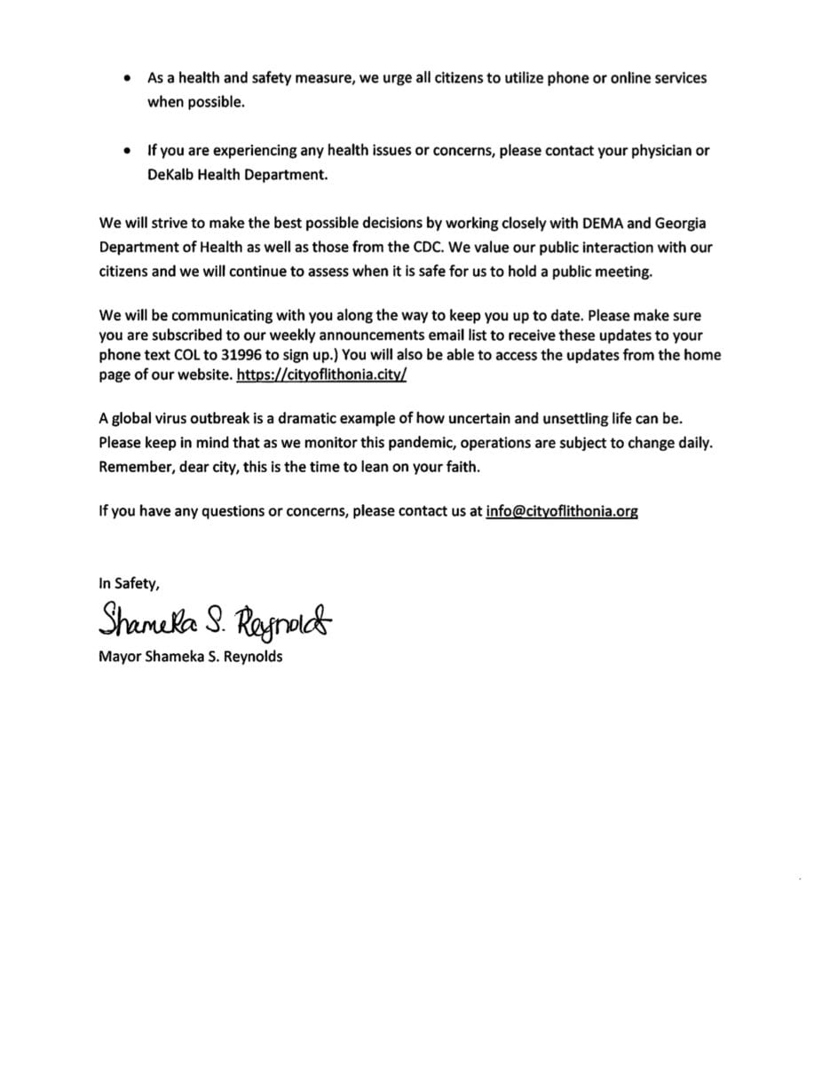 Letter From Lithonia Mayor Shameka Reynolds Regarding