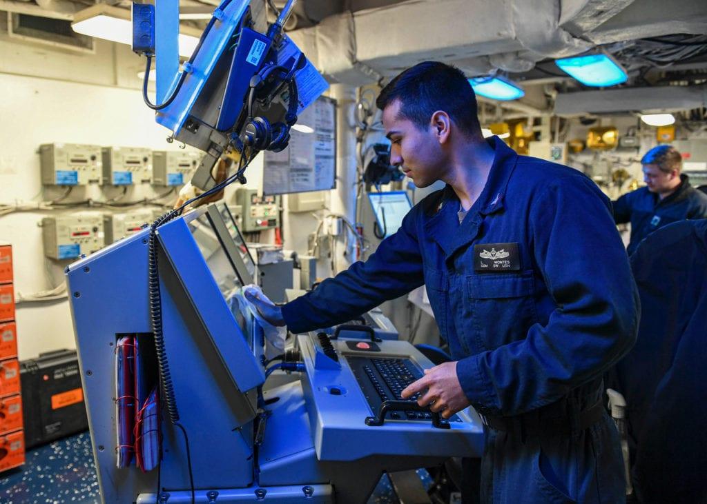 USS Normandy Sailor Cleans, Sanitizes Control Console