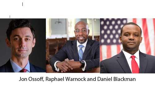 Jon Ossoff, Raphael Warnock and Daniel Blackman